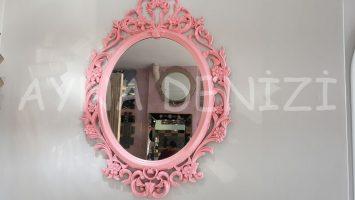Vintage Taç Model Pudra Pembe Renk Dekoratif Ayna