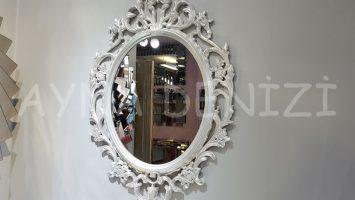 Vintage Taç Model Sedef Renk Dekoratif Ayna