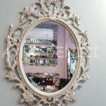 Vintage Taç Model Sedef Renk Dekoratif Ayna-4