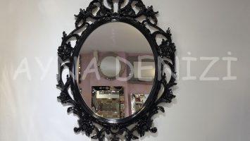 Vintage Taç Model Siyah Renk Dekoratif Ayna
