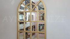 Klasik Model Altın Renk Dekoratif Pencere Ayna