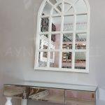 Klasik Model Beyaz Renk Dekoratif Pencere Ayna-12