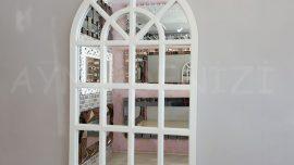 Klasik Model Beyaz Renk Dekoratif Pencere Ayna