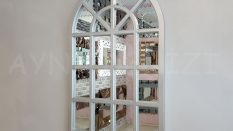 Klasik Model Gümüş Renk Dekoratif Pencere Ayna