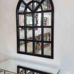 Klasik Model Siyah Renk Dekoratif Pencere Ayna-15