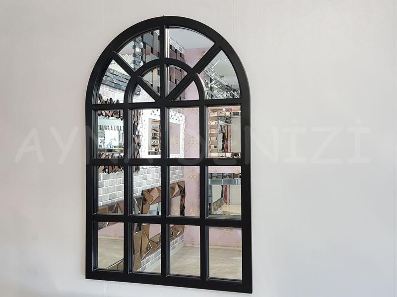 Klasik Model Siyah Renk Dekoratif Pencere Ayna