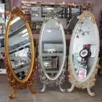 Selvi Model Altın Renk Ayaklı Boy Aynası-17