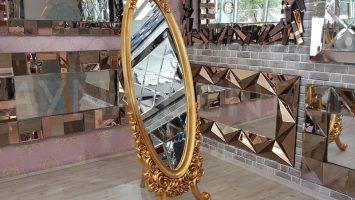 Selvi Model Altın Renk Ayaklı Boy Aynası