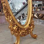 Selvi Model Altın Renk Ayaklı Boy Aynası-9
