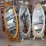 Selvi Model Beyaz Sedef Renk Ayaklı Boy Aynası-19