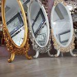 Selvi Model Beyaz Sedef Renk Ayaklı Boy Aynası-21