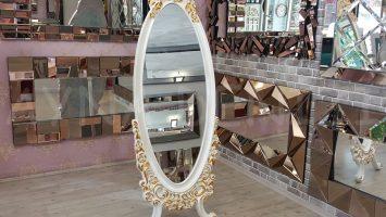 Selvi Model Beyaz Sedef Renk Ayaklı Boy Aynası