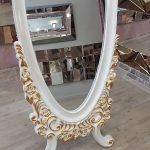 Selvi Model Beyaz Sedef Renk Ayaklı Boy Aynası-7