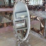 Selvi Model Gümüş Renk Ayaklı Boy Aynası-1