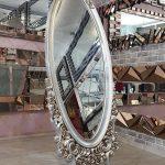 Selvi Model Gümüş Renk Ayaklı Boy Aynası-2