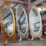 Selvi Model Gümüş Renk Ayaklı Boy Aynası-20
