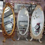 Selvi Model Gümüş Renk Ayaklı Boy Aynası-21