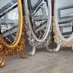 Selvi Model Gümüş Renk Ayaklı Boy Aynası-24