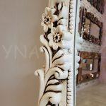 Klasik Boncuklu Model Eskitme Beyaz Renk Boy Aynası-10