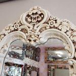 Klasik Boncuklu Model Eskitme Beyaz Renk Boy Aynası-13