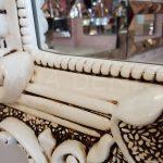 Klasik Boncuklu Model Eskitme Beyaz Renk Boy Aynası-14
