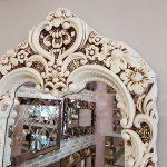 Klasik Boncuklu Model Eskitme Beyaz Renk Boy Aynası-16