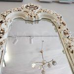 Klasik Boncuklu Model Eskitme Beyaz Renk Boy Aynası-19