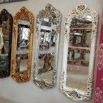 Klasik Boncuklu Model Eskitme Beyaz Renk Boy Aynası-20
