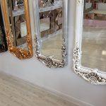 Klasik Boncuklu Model Eskitme Beyaz Renk Boy Aynası-22