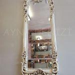 Klasik Boncuklu Model Eskitme Beyaz Renk Boy Aynası-4