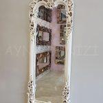 Klasik Boncuklu Model Eskitme Beyaz Renk Boy Aynası-5