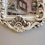 Klasik Boncuklu Model Eskitme Beyaz Renk Boy Aynası-6