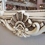 Klasik Boncuklu Model Eskitme Beyaz Renk Boy Aynası-8