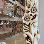 Klasik Boncuklu Model Eskitme Beyaz Renk Boy Aynası-9