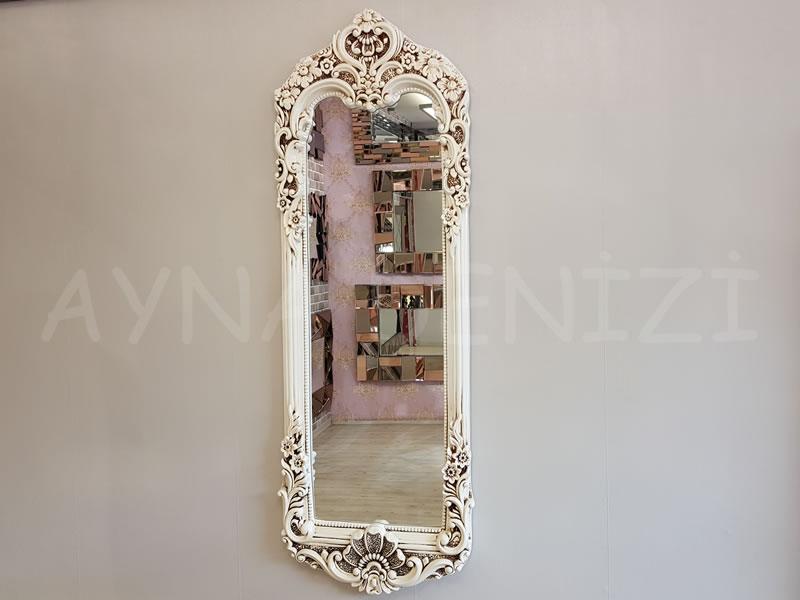 Klasik Boncuklu Model Eskitme Beyaz Renk Boy Aynası