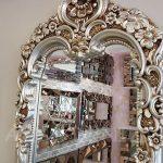 Klasik Boncuklu Model Gümüş Renk Boy Aynası-16