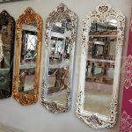 Klasik Boncuklu Model Gümüş Renk Boy Aynası-20