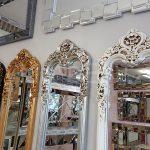 Klasik Boncuklu Model Gümüş Renk Boy Aynası-21