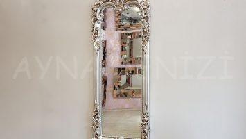 Klasik Boncuklu Model Gümüş Renk Boy Aynası