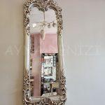 Klasik Boncuklu Model Gümüş Renk Boy Aynası-4