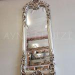 Klasik Boncuklu Model Gümüş Renk Boy Aynası-6