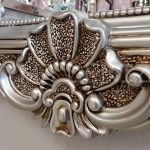 Klasik Boncuklu Model Gümüş Renk Boy Aynası-9