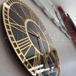 Golden Black Model Altın Siyah Renk Dekoratif Aynalı Duvar Saati-11