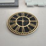Golden Black Model Altın Siyah Renk Dekoratif Aynalı Duvar Saati-12