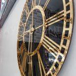 Golden Black Model Altın Siyah Renk Dekoratif Aynalı Duvar Saati-15