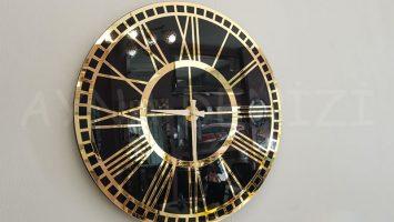 Golden Black Model Altın Siyah Renk Dekoratif Aynalı Duvar Saati