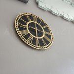 Golden Black Model Altın Siyah Renk Dekoratif Aynalı Duvar Saati-7