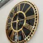 Golden Black Model Altın Siyah Renk Dekoratif Aynalı Duvar Saati-9