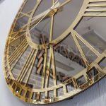 Golden Bronze Model Altın Bronz Renk Dekoratif Aynalı Duvar Saati-10