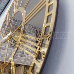 Golden Bronze Model Altın Bronz Renk Dekoratif Aynalı Duvar Saati-11